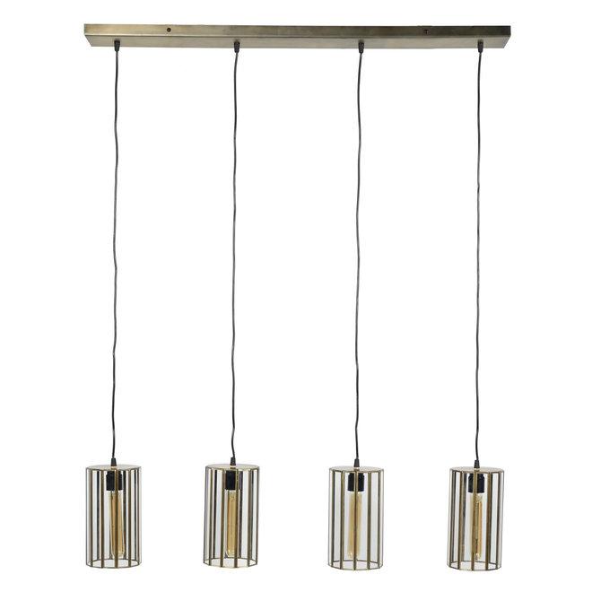 Hanglamp 4L artdeco cylinder / Brons antiek