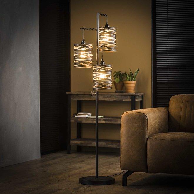 Vloerlamp 3L spindle / Slate grey