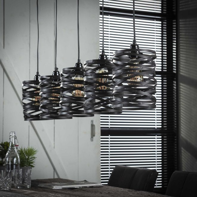 Hanglamp 5x ø17 spindle / Slate grey