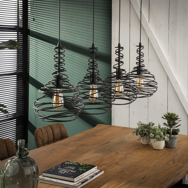 Hanglamp 4x Ø25 kegel spinn / Zwart