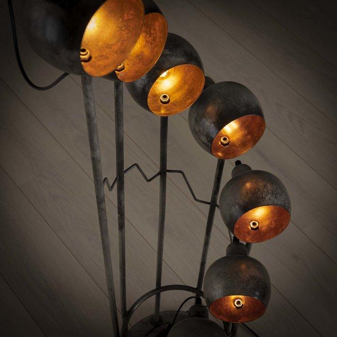 Vloerlamp 8L spiralo vintage/Oud zilver