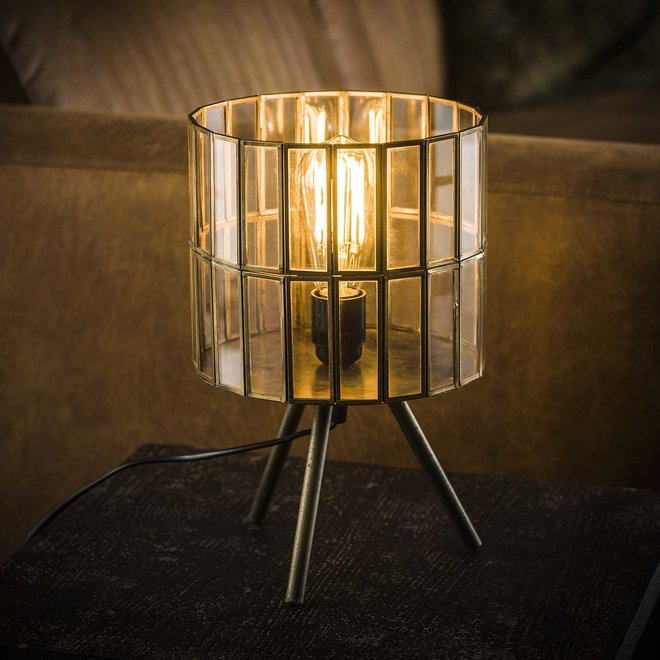 Tafellamp 1L artdeco tri-pod ronde kap / Brons antiek