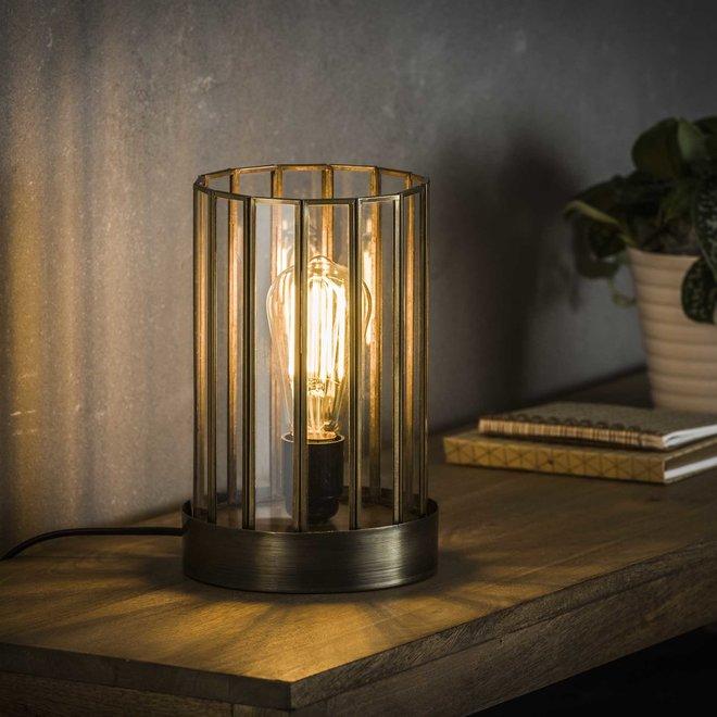 Tafellamp 1L artdeco cylinder / Brons antiek