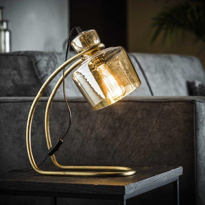 Tafellamp sledepoot amber glas / Brons antiek