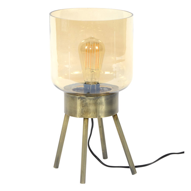 Tafellamp 4-poot amber glas / Brons antiek / Brons antiek