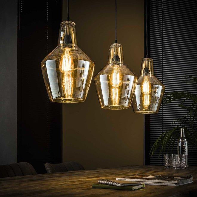 Hanglamp 3L amber glas kegel / Oud zilver