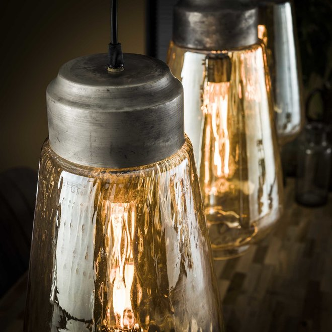 Hanglamp 3L amber glas druppel / Oud zilver
