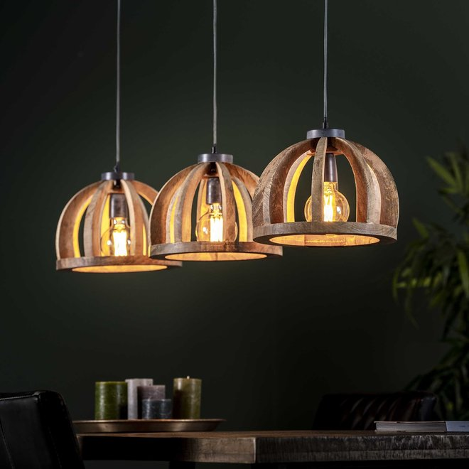 Hanglamp 3x Ø30 gebogen houten spijlen / Massief mango naturel