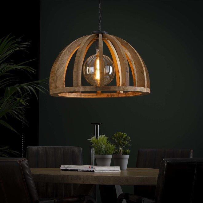 Hanglamp Ø60 gebogen houten spijlen / Massief mango naturel / Massief mango naturel