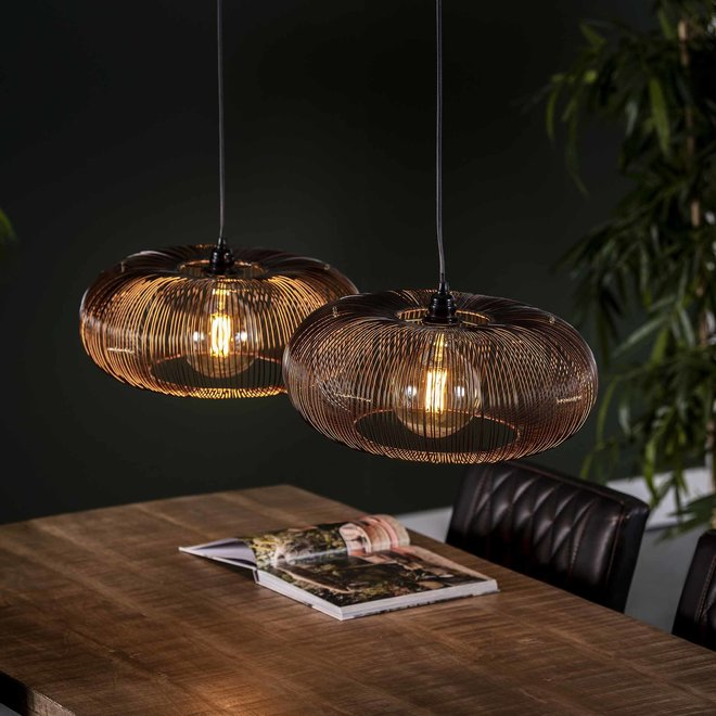 Hanglamp 2x Ø43 disk wire copper twist / Zwart nikkel