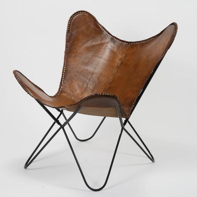 Vlinderstoel leder VPE 2 / Bruin