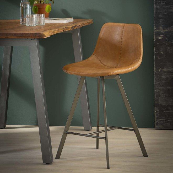 Barstoel zig-zag plat frame VPE 4 / Saddle PU cowhide bruin