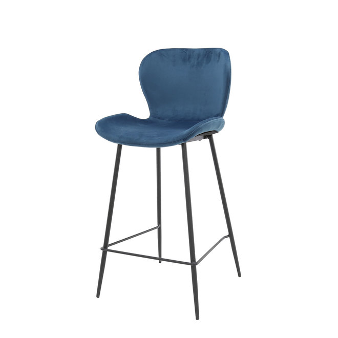 Barstoel velvet ronde buis VPE4 / Blauw velours