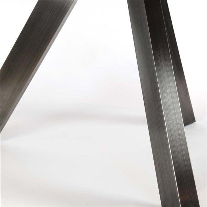 Eetkamertafel Ø135 zwart RVS / Massief acacia naturel