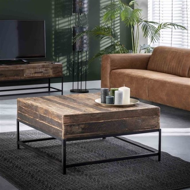 Salontafel Lodge vierkant / Massief gerecycled hout