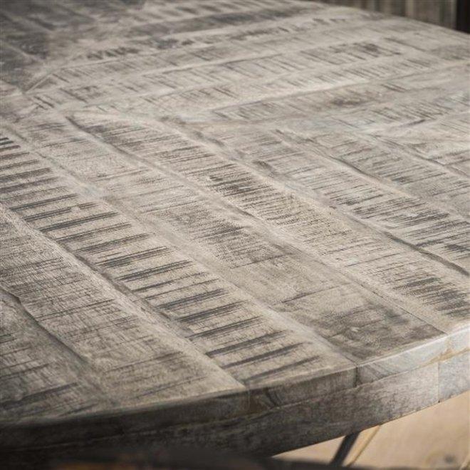 Eetkamertafel Ø120 grado / Massief mango grijs antiek