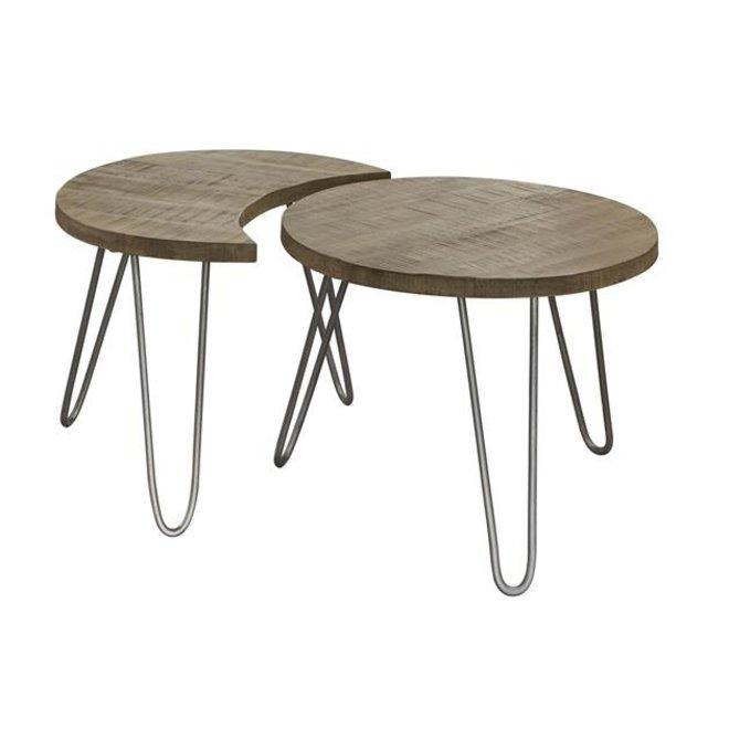 Salontafelset van twee bijzettafels met Ø60cm. / Massief mango blank antiek