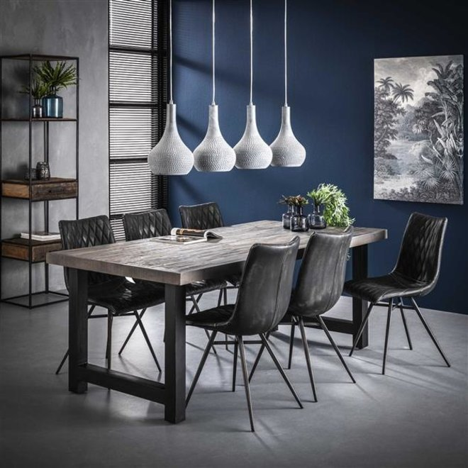 Eetkamertafel 165  acacia rough grey / Grijs