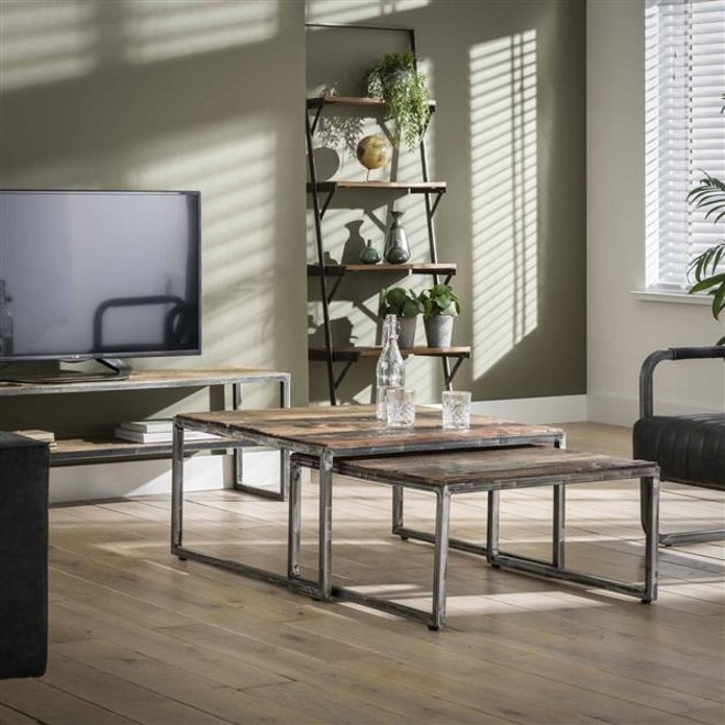 Salontafel set/2 80x80 grained / Robuust hardhout