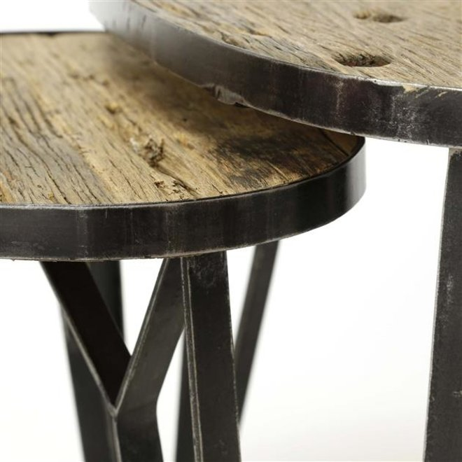 Salontafel set/2 levervormig met een metalen rand / Robuust hardhout