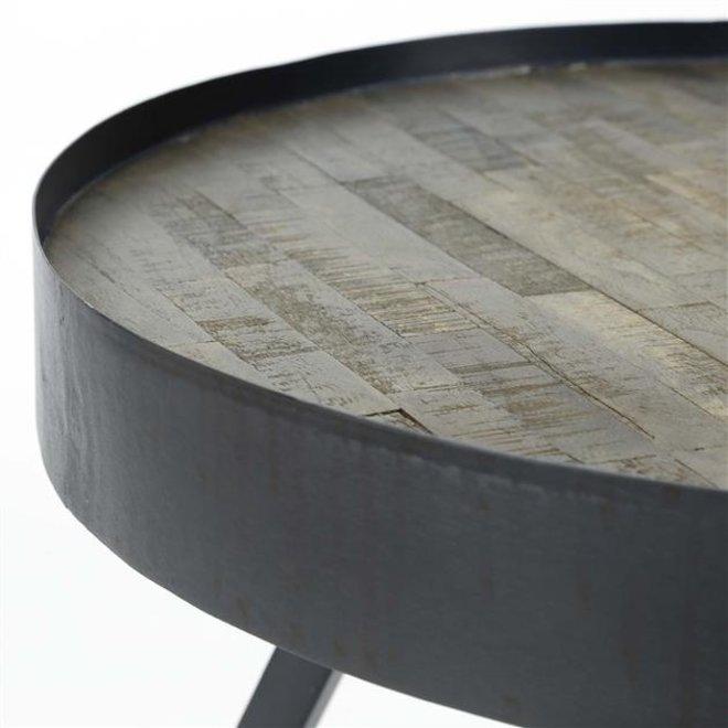 Salontafel Teca Ø60 rand / Teakhout greywash