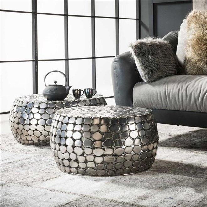 Salontafel set/2 jackstone / Antiek Nikkel