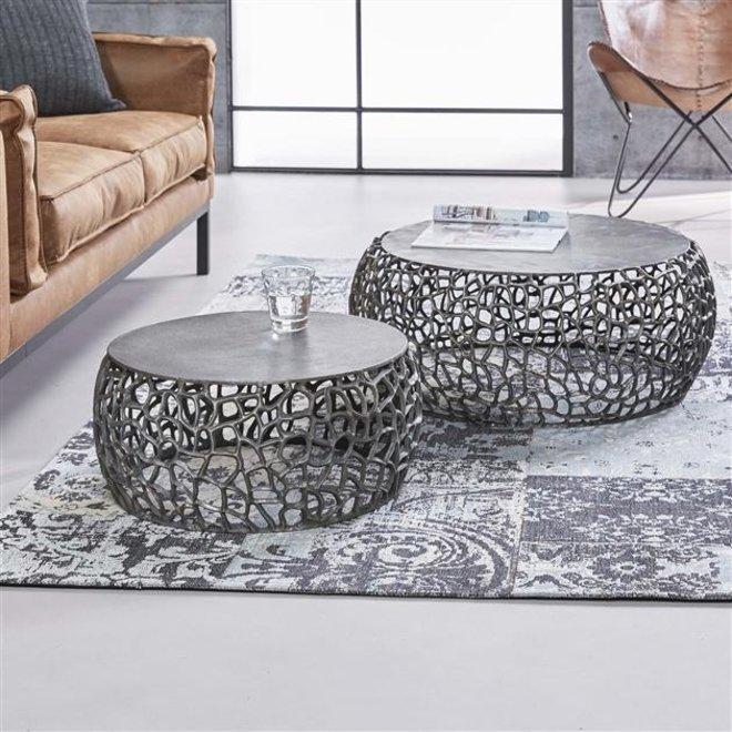 Salontafel set/2 maze zandgegoten / Zwart nikkel