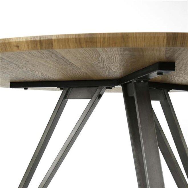 Eetkamertafel uitgevoerd in een MDF-blad met een 3D decorlaag en een V-frame / 3D eiken bruin