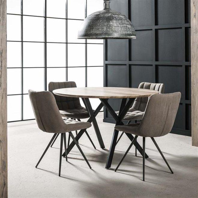 Eetkamertafel Ø120 zwart gepoedercoat frame / 3D Eiken antiquewash