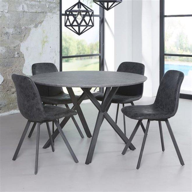 Eetkamertafel Ø120 zwart gepoedercoat frame / 3D betonlook grijs