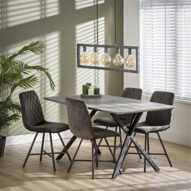 Eetkamertafel 160 ovaal blad zwart gepoedercoat frame / 3D betonlook grijs