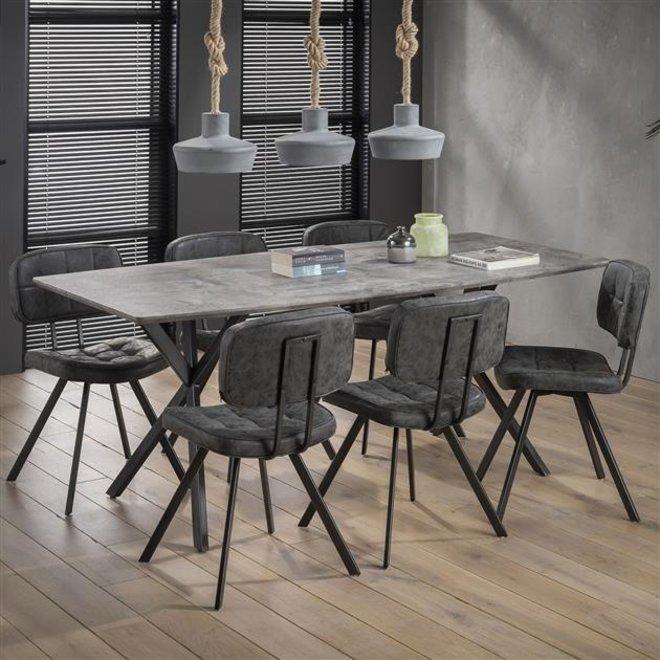 Eetkamertafel 190 ovaal blad zwart gepoedercoat frame / 3D betonlook grijs