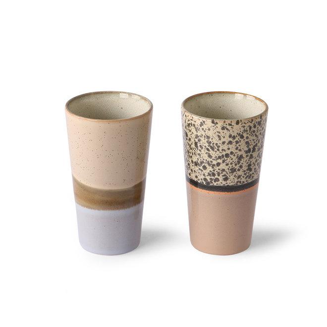Ceramic 70's Latte Macchiato Kopjes Set van 2
