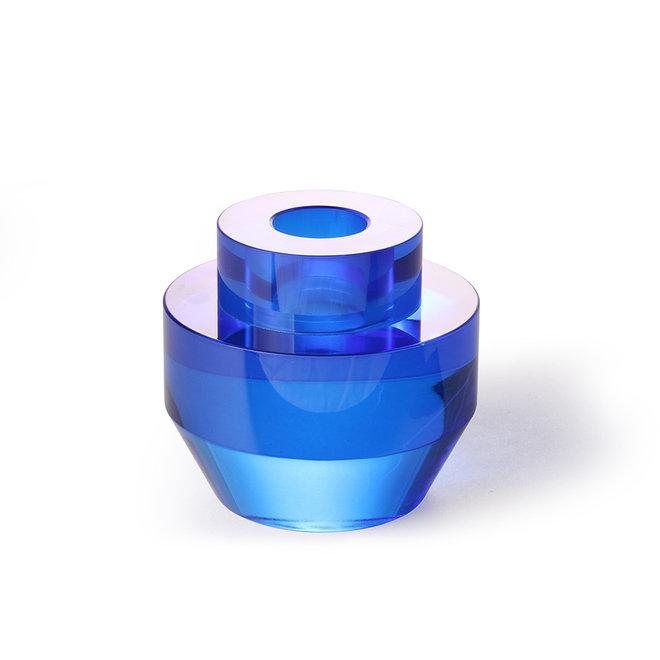 Kaarsenhouder Kristalglas Kobaltblauw Rond