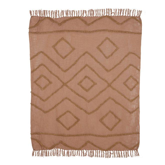 Zacht kleed Throw Katoen Bruin Franje pattern (130x170)