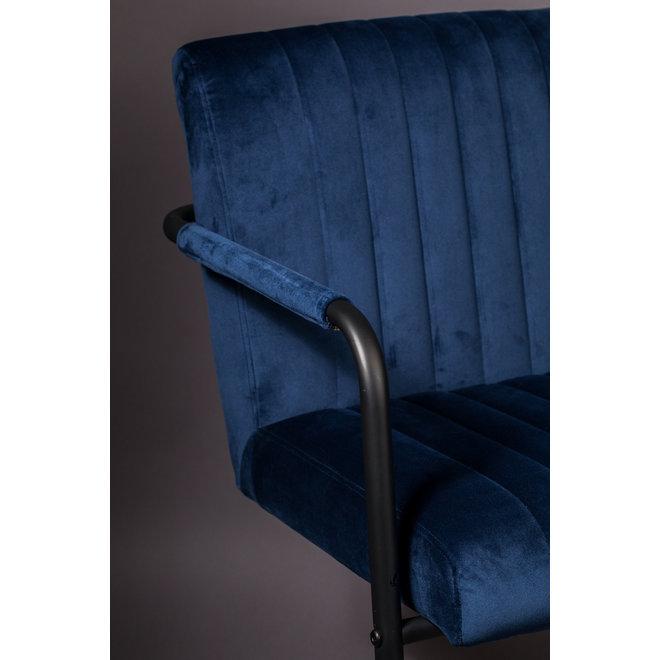 Eetkamerstoel Stitched Velvet - Marineblauw