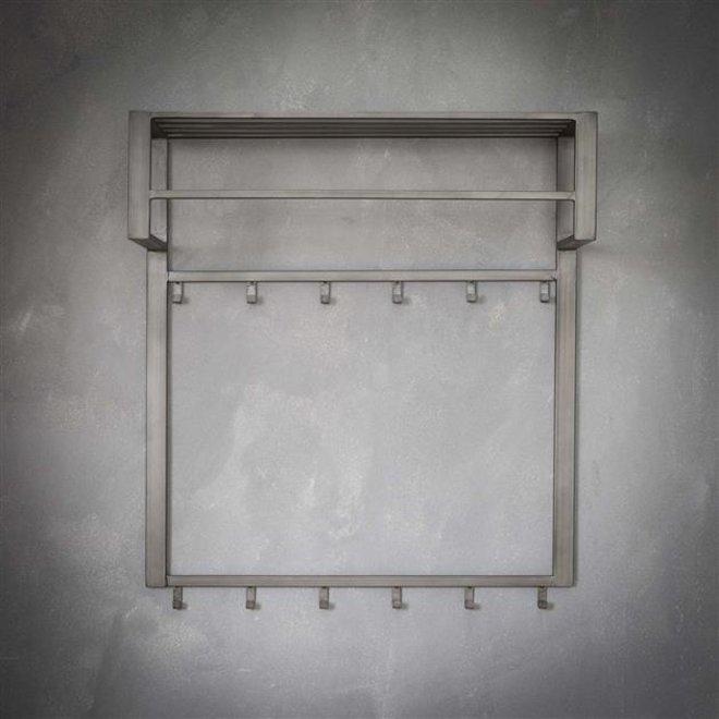 Kapstok industrial 2x6 haken roede -hoedenplank/Zilver