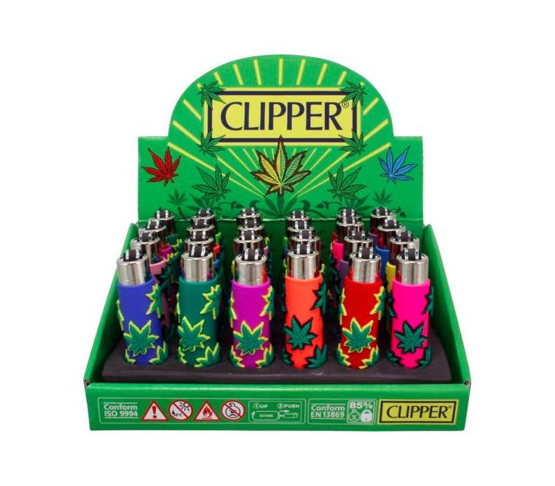 Clipper Mini Rubber Case Leafs Aansteker