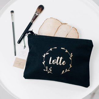 World of Mina Katoenen make-up tas met naam - wreath