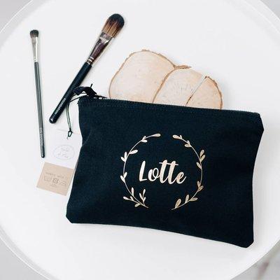 World of Mina Katoenen make-up tas met naam - wreath
