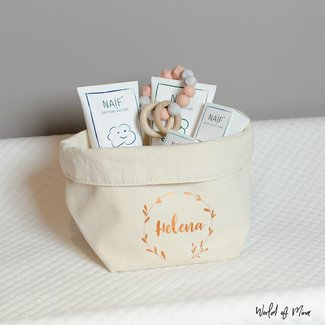 World of Mina Small storage basket  - with name wreath