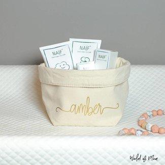 World of Mina Small storage basket  - with name swirl