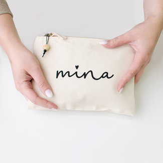 "World of Mina Katoenen make-up tas / ""LOVE"" met naam"