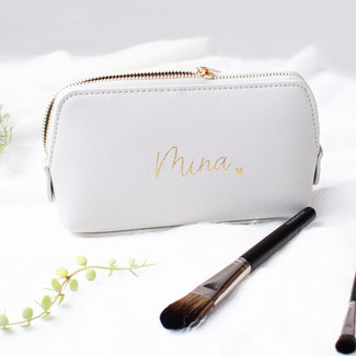 World of Mina Make-up tasje grijs / met naam