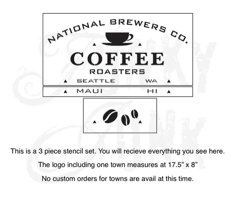 Funky Junk Funky Junk Stencils - National Coffee - 3 pcs