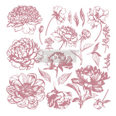 Redesign with Prima Redesign - Decor Clear-Cling Stamps - Linear Floral