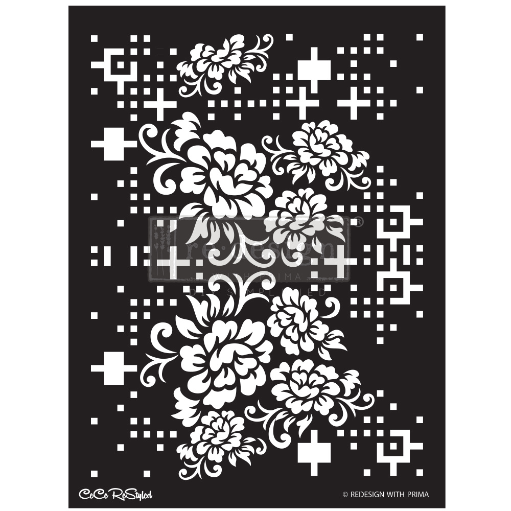 Redesign with Prima Redesign - Stencil - Floral Matrix