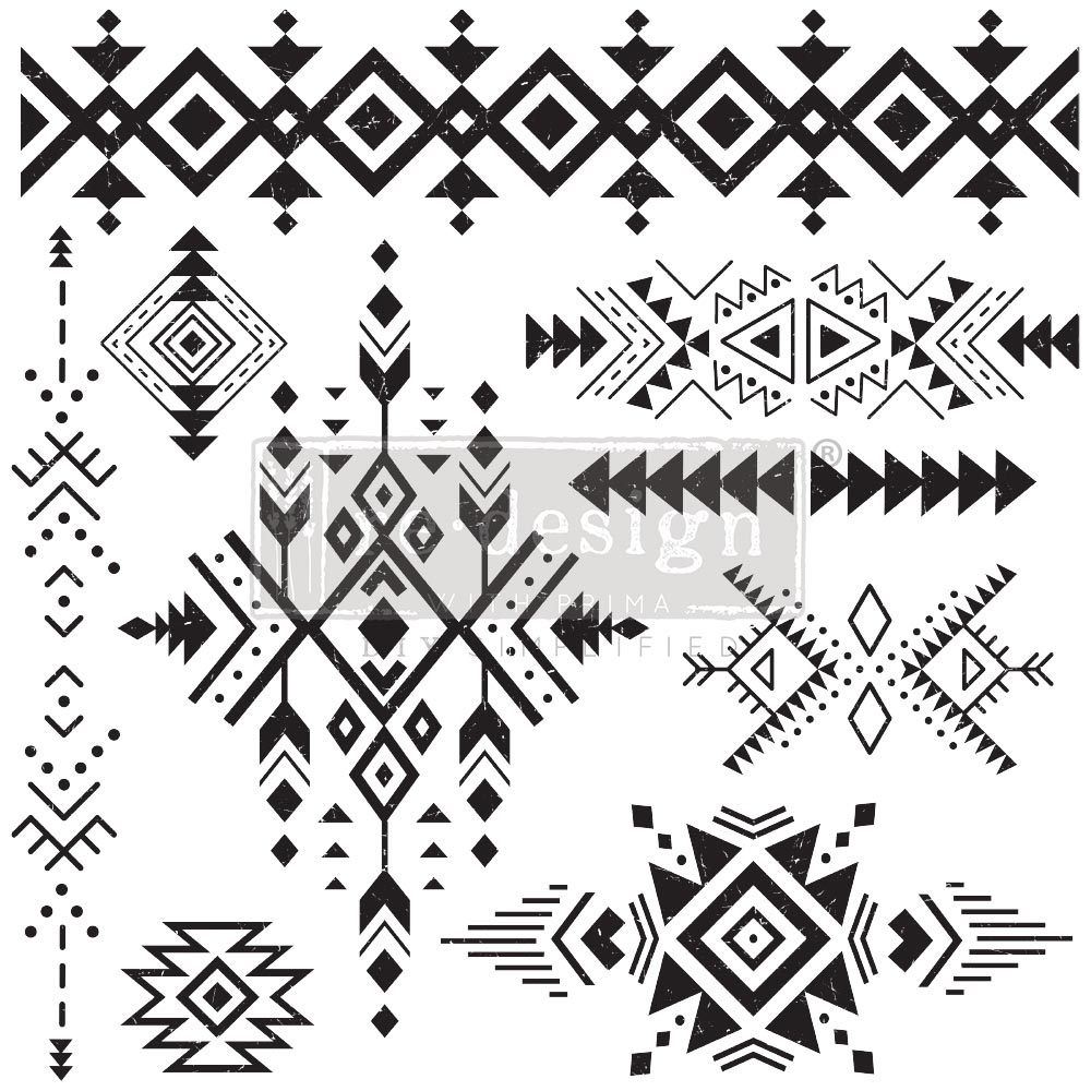 Redesign with Prima Redesign - Clear-Cling Stamps - Tribal Prints