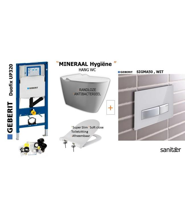 Geberit  Geberit Up320 -Mineraal Hygiëne Hangtoilet Set met Sigma50 WIT Drukplaat