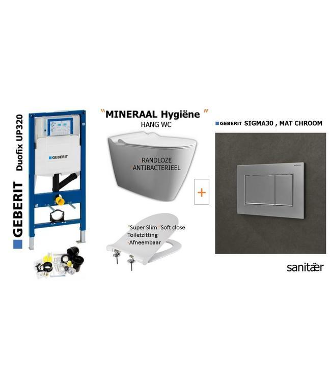 Geberit  Geberit Up320 -Mineraal Hygiëne Hangtoilet set Met Sigma30 MAT CHROOM Drukplaat